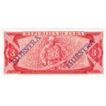 1985 - Cuba P107 billete de 3 Pesos Specimen Muestra