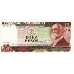 1991 - Cuba P109 10 Pesos  banknote