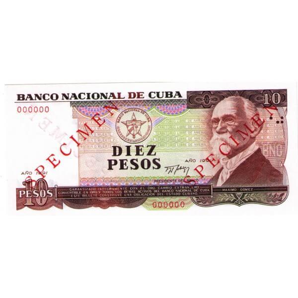 1991 - Cuba P109s billete de 10 Pesos Specimen