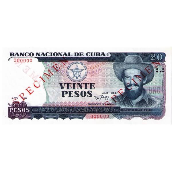1991 - Cuba P110s 20 Pesos Specimen banknote