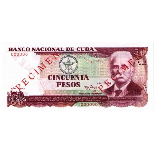 1990 - Cuba P111s billete de 50 Pesos Specimen