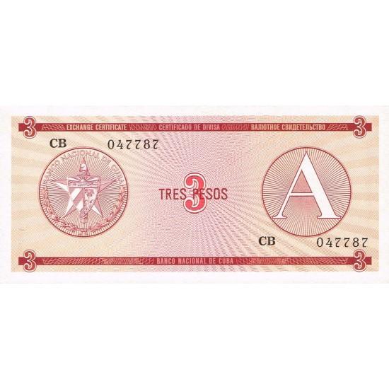 1985 - Cuba P-FX20 3 Pesos banknote