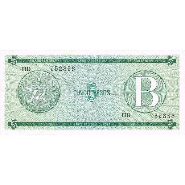 1985 - Cuba P-FX7 billete de 5 Pesos