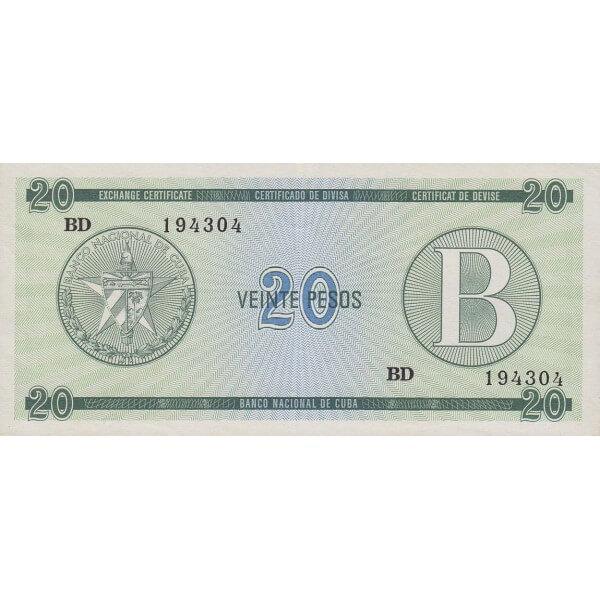 1985 - Cuba P-FX9 billete de 20 Pesos