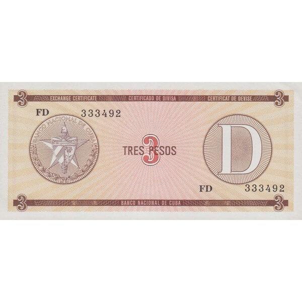 1985 - Cuba P-FX28 billete de 3 Pesos