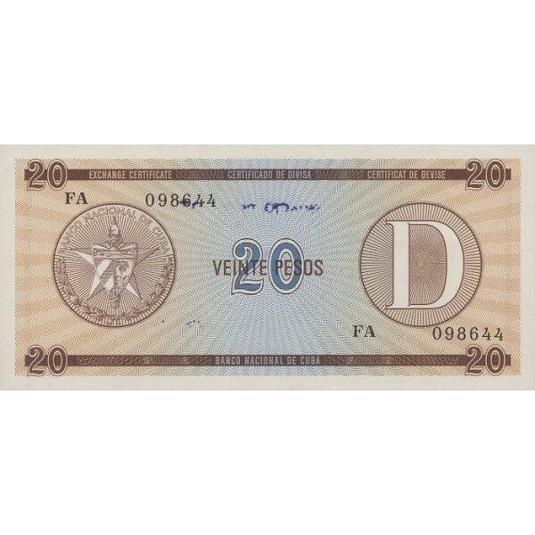 1985 - Cuba P-FX36 billete de 20 Pesos