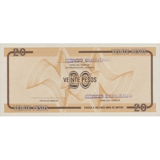 1985 - Cuba P-FX36 20 Pesos  banknote