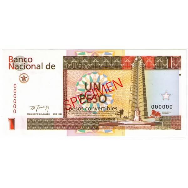 1994 - Cuba P-FX37 billete de 1 Peso Specimen