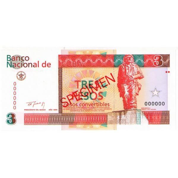1994 - Cuba P-FX38 billete de 3 pesos Specimen