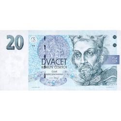 1993 - Czech Republic Pic 10 a     20 Korun  banknote