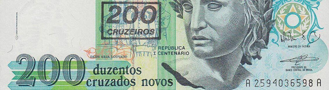 200 cruzeiros on 200 cruzados from Brasil Banknote