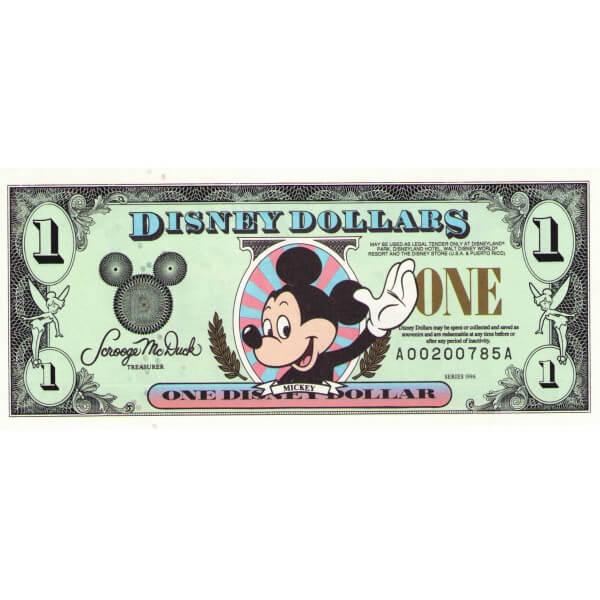 1996 - Disney United States 1 Dollar banknote