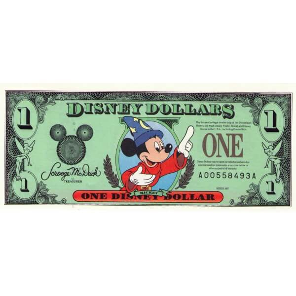 1997 - Disney Estados Unidos billete de 1 Dólar