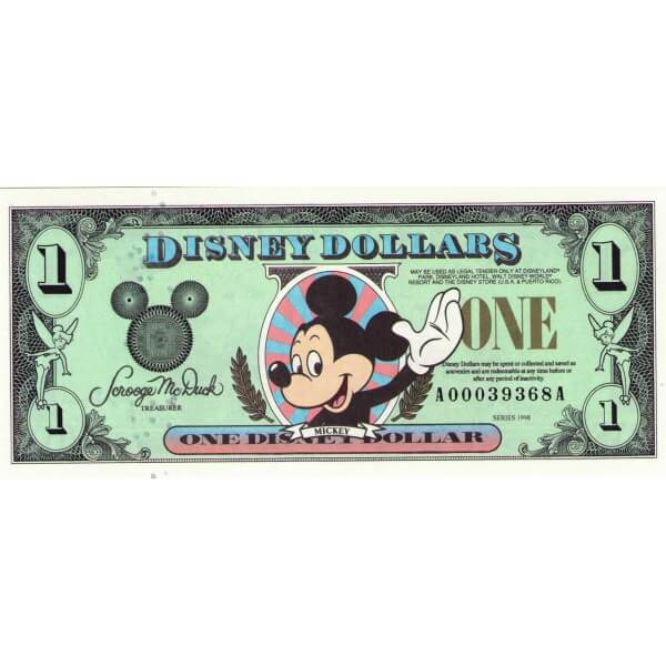 1998 - Disney United States 1 Dollar banknote
