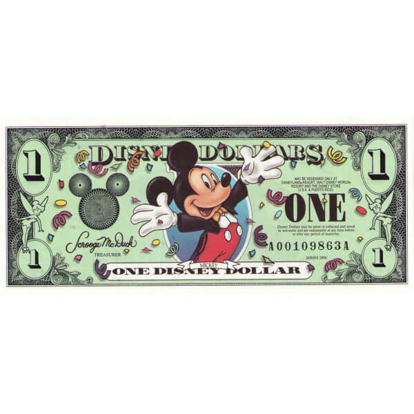 2000 - Disney Estados Unidos billete de 1 Dólar