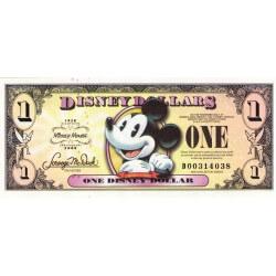 2008 - Disney United States 1 Dollar banknote 80th Anniversary