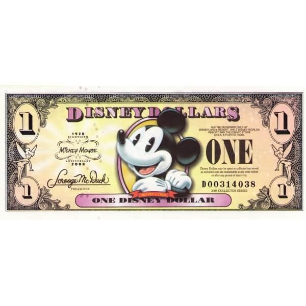 2008 - Disney Estados Unidos billete de 1 Dólar 80 Aniversario