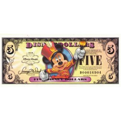 2008 - Disney  United States 5 Dollars banknote 80th Anniversary
