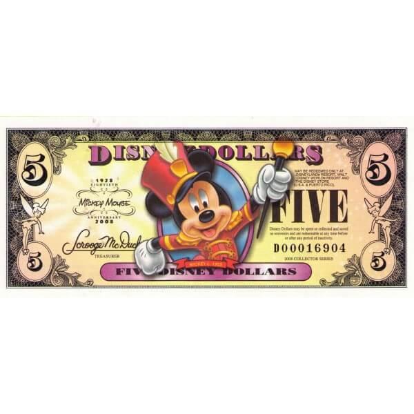 2008 - Disney Estados Unidos billete de 5 Dólares 80 Aniversario
