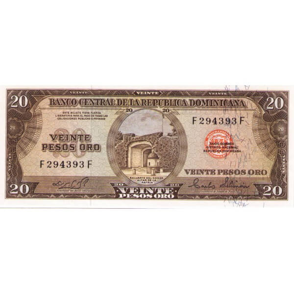 1975 - República Dominicana P111a Billete de 20 Pesos Oro NF