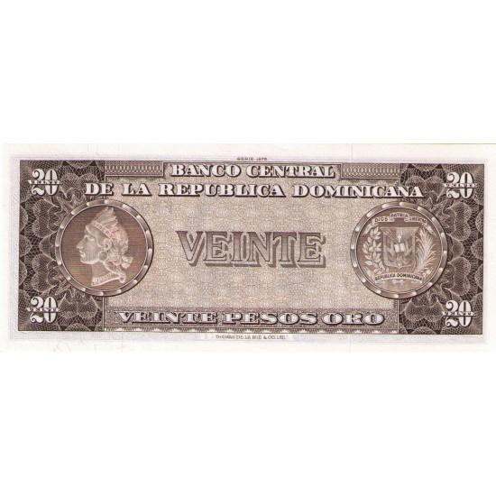 1975 - Dominican Republic P111a 20 Pesos Oro banknote NF