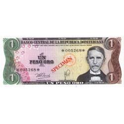 1978 - Dominican Republic P116cs4 1 Peso Oro Specimen banknote