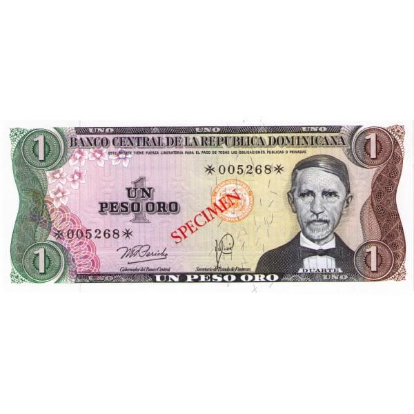 1978 - República Dominicana P116cs4 billete 1 Peso Oro Specimen