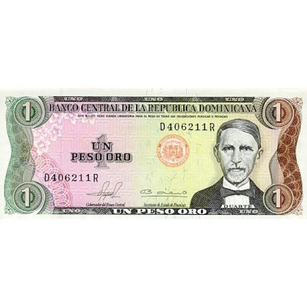 1980 - República Dominicana P117 billete 1 peso Oro