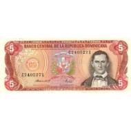 1988 - Dominican Republic P118c 5 Pesos Oro banknote
