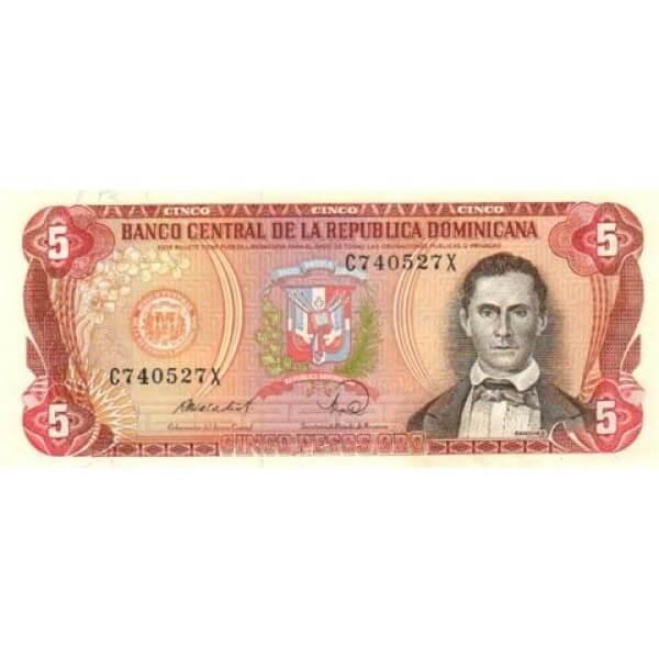 1982 - República Dominicana P118b billete 5 Pesos Oro