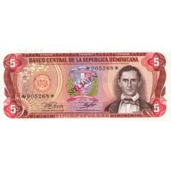 1978 - Dominican Republic P118cs4 5 Pesos Oro Specimen banknote