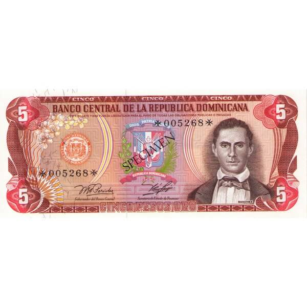 1978 - República Dominicana P118cs4 billete 5 Pesos Oro Specimen
