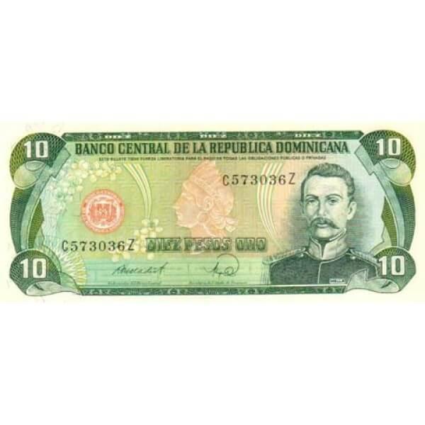 1988 - República Dominicana P119c billete 10 Pesos Oro