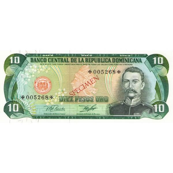 1978 - República Dominicana P119cs4 billete 10 Pesos Oro Specimen