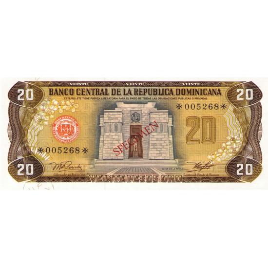 1978 -  Dominican Republic P120cs4 20 Pesos Oro Specimen banknote