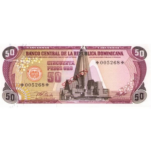 1978 - República Dominicana P121cs4 billete 50 Pesos Oro Specimen