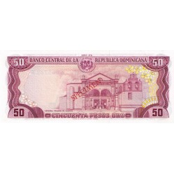 1978 - Dominican Republic P121cs4 50 Pesos Oro Specimen banknote