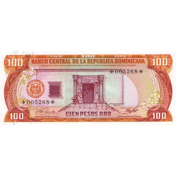 1978 - República Dominicana P122cs4 billete 100 Pesos Oro Specimen