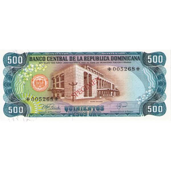 1978 - República Dominicana P123cs4 billete 500 Pesos Oro Specimen