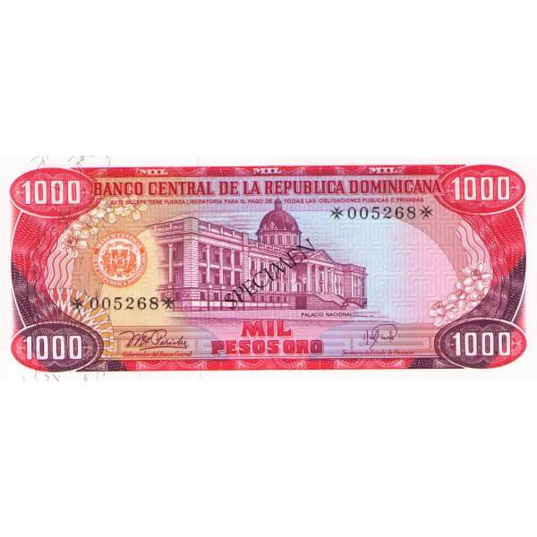 1978 - República Dominicana P124cs4 billete 1.000 Pesos Oro Specimen