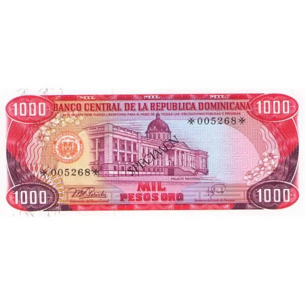 1978 - Dominican Republic P124cs4 1,00 Pesos Oro Specimen banknote