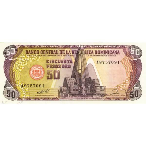 1990 - República Dominicana P127 billete 50 Pesos Oro