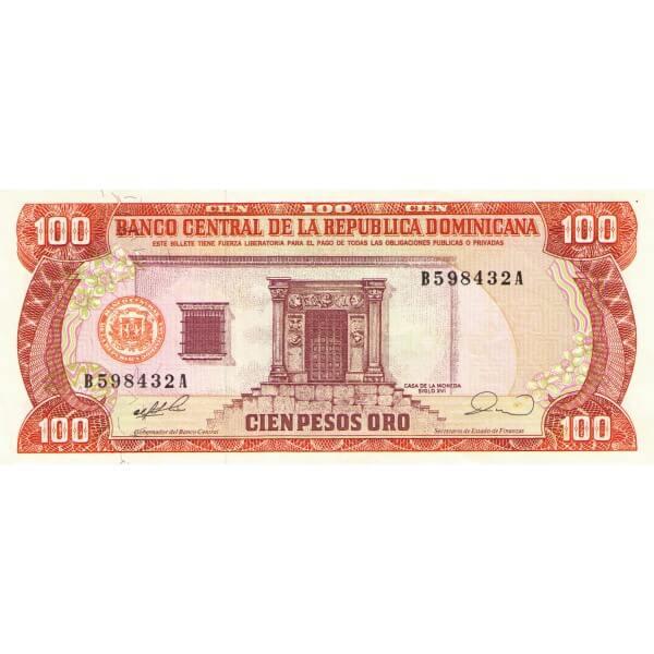 1990 - República Dominicana P128 billete 100 Pesos Oro