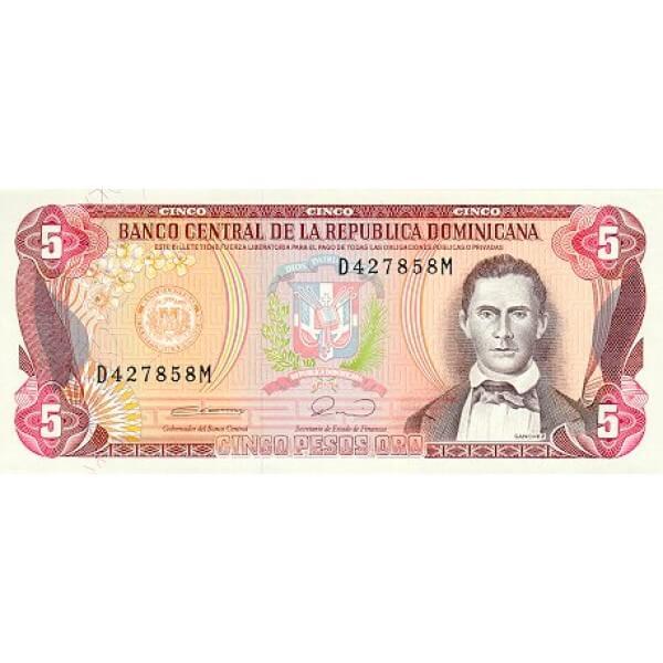 1990 - República Dominicana P131 billete 5 Pesos Oro