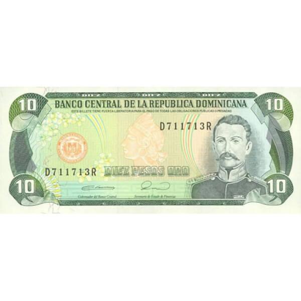 1991 - República Dominicana P132 billete 10 Pesos Oro