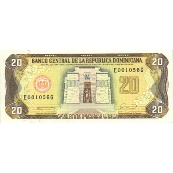 1990 - República Dominicana P133 billete 20 Pesos Oro