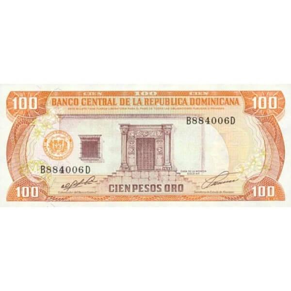 1990 - República Dominicana P136 billete 100 Pesos Oro