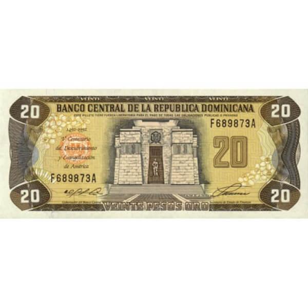 1992 - República Dominicana P139 billete 20 Pesos Oro