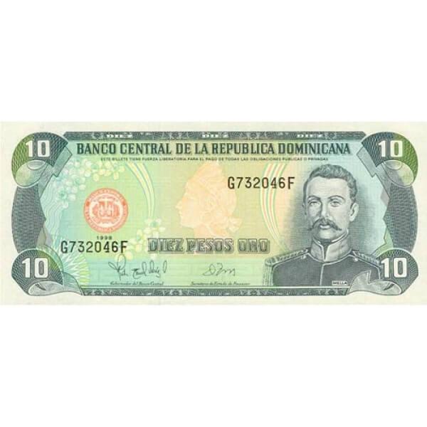1998 - República Dominicana P153 billete 10 Pesos Oro