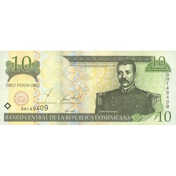 2001 - República Dominicana P165 billete 10 Pesos Oro